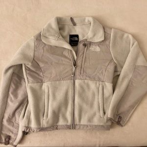 The North Face white and gray fleece zip up